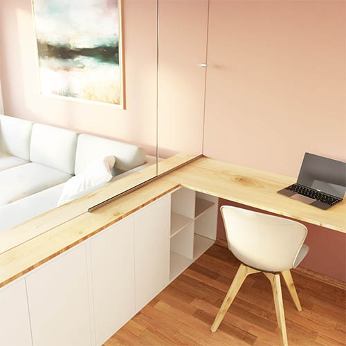 Beispiel kleine Wohnung Wohnzimmer Home-Office