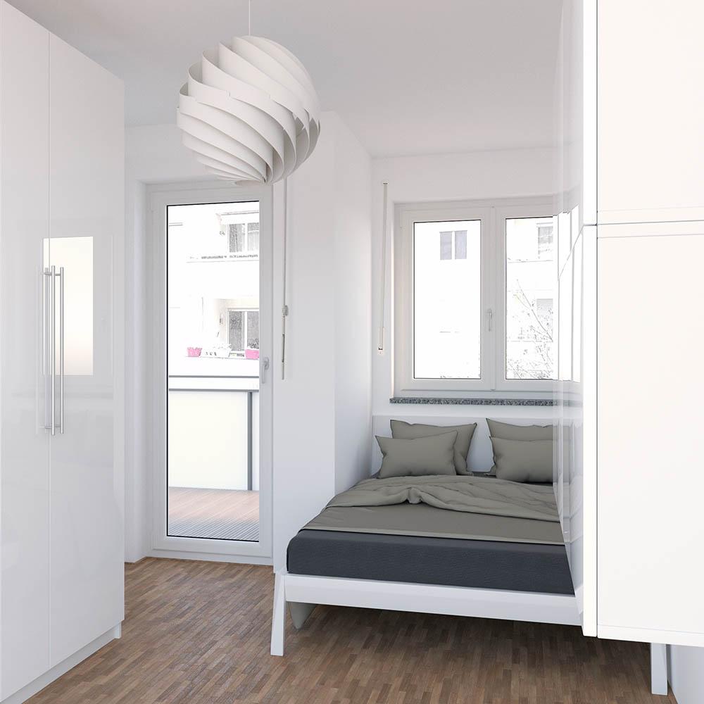 Kleine Wohnung einrichten Schlafzimmer vorher nachher